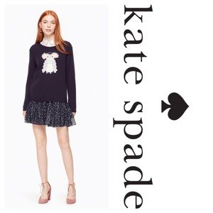 New Kate Spade Owl Sweater In Navy Color Wool